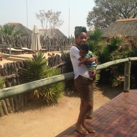 Kaylan & Lance at game drive in Namibia
