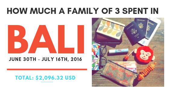 How much a Family of 3 spent in Bali